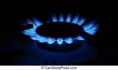 Domestic gas stove is lit video blue gas - Domestic gas...