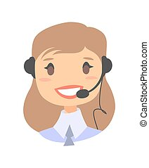 Happy smiling female customer support phone operator -...
