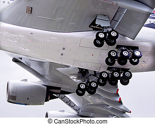 Undercarriage - A close up view of an airliner's...