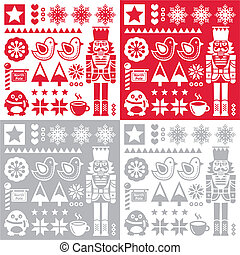 Christmas pattern with nutcracker - - Retro style red Xmas...