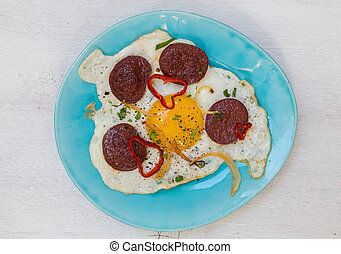 Sucuk turkish garlic sausage with egg.