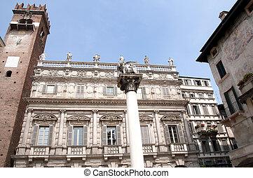 Delle Erbe square, verona - Picture of a building in Delle...