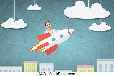 teen girl flying on rocket above cartoon city - education,...