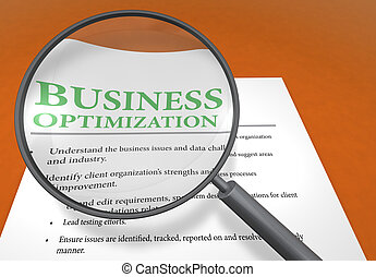 Business optimization - Zoom and document on the orange...