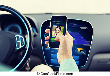 close up of man with call on smartphone in car - transport,...