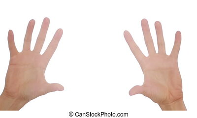 Woman hand on white background. hand gestures - Woman hand...