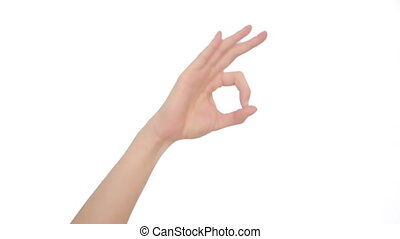 Hand OK sign isolated on white background. hand gestures -...