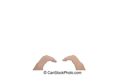 Woman hand making sign Heart isolated on white background....