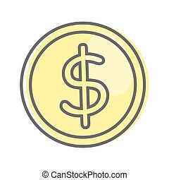 Money Sign Isolated. Dollar Coin. Video Marketing. - Money...