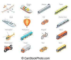Vector Transport Icons in Isometric Projection - Collection...