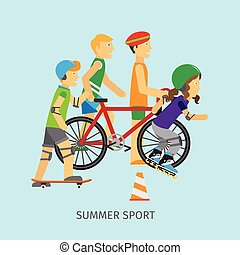 Summer sport. Active way of Life Conceptual Banner - Summer...