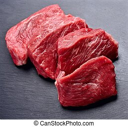 Steak of meat close up