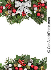 Christmas Flora with Silver Bow Border