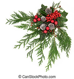 Christmas Decoration - Christmas festive decoration with red...
