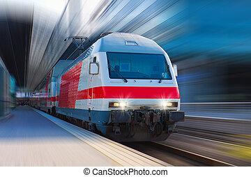 modernos, alto, velocidade, trem