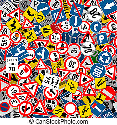 Different road signs seamless pattern - A lot of different...