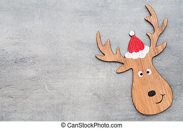 Christmas decor with deer. Vintages background.