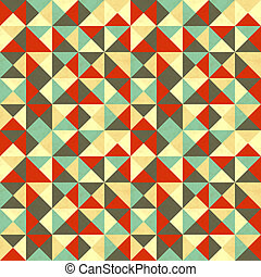 Triangles in retro colours, abstract seamless pattern