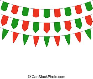Decorative flags on greeting Christmas - Decorative flags on...