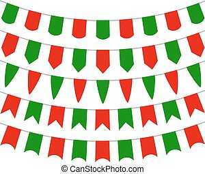 Collection of festive decorative flags holiday - Collection...