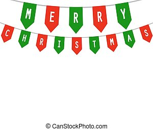 Decorative flags on greeting happy Christmas - Decorative...