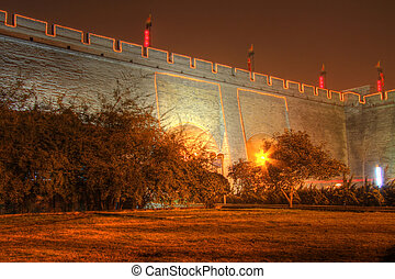 xian city wall outdoor - the xian city wall at night