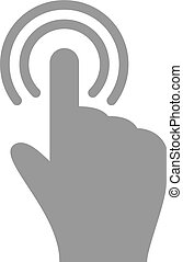 Hand touch and tap gesture line art icon for apps and...