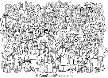 black and white people crowd - Black and White Cartoon...