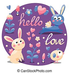 Seamless cute set made with rabbit, hare, flowers, animals, plants, hearts, love, hello, berry, Valentine's day, lovers, couple postcard