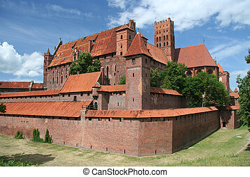 Polish castle - Malbork - Ancient knight Malbork castle,...