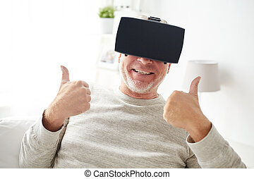 old man in virtual reality headset or glasses - 3d...