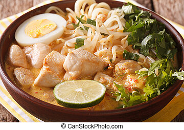 Laksa soup with chicken, egg, rice noodles, bean sprouts and...