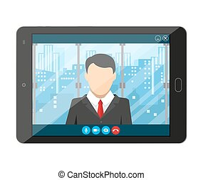 Online conference. Internet meeting, video call - Tablet pc...