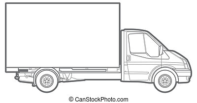 line commercial truck - line illustration of a commercial...