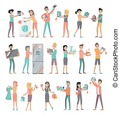 Set of Peoples on Electronics Store Sale Vector