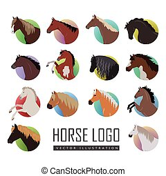 Set of Horse Logo Flat Style Vector illustrations