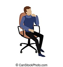 Man Sitting on Chair and Dreaming About Something - Man...