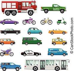 Big Set of wheeled transport in Flat design.