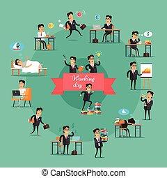 Businessman Working Day Set - Businessman working day set....