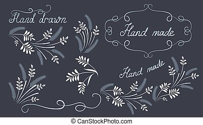 Set hand drawn design elements and corner ornament - Set...