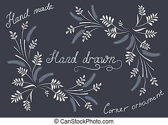 Hand drawn design elements and corner ornament - Hand drawn...