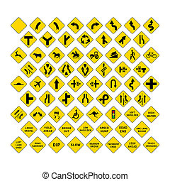 Big set of yellow road signs on white - Big set of yellow...