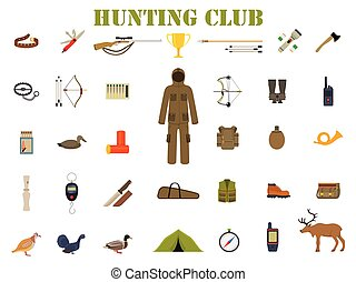 Hunting equipment kit hunting rifle, hunting knife, hunting hat, hunting suit, hunting shotgun, hunting boots, hunting decoy, hunting patronage, hunting matches, a hunting trap. Vector illustration