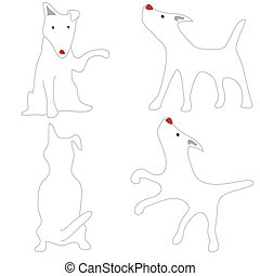 Bull Terrier White Dog Acting Cute cartoon abstract design...