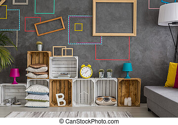 Colorful wall decoration and diy wooden regale