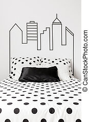 Polka dot bedding - Trendy stylish black and white polka dot...