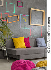 Functional living room - Functional grey living room with...