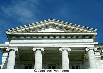 viejo, Palacio de justicia, azul, cielo