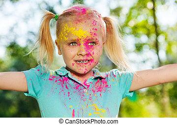 mazał, barwny, proszek, portret, dziewczyna, szczęśliwy