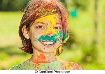 mazał, Chłopiec, barwny, proszek, portret, szczęśliwy